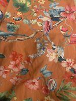 Eikei King Duvet Cover Cotton Orange Bird Motif Botanical & 1 Pillow Sham