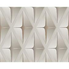 AS CREATION STRIPED SQUARE PATTERN 3D EFFECT EMBOSSED NON WOVEN WALLPAPER 960411