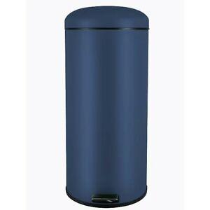 Modern Round Navy Blue 30L Pedal Bin Kitchen Waste Room Flip Up Lid