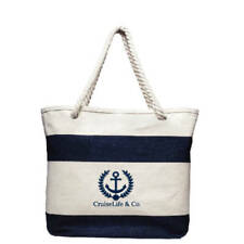 L@@K Cruise Navy Striped Canvas Tote Bags Bag Robe Handles Nautical Beach Tote