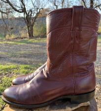 Justin Mens 11.5 D M Burgundy Kipskin Classic Leather Roper Boots USA Made 3037