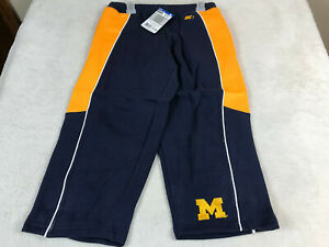 University Michigan Wolverines Embroidered Youth Fleece Sweat Pants L 12/14 NEW