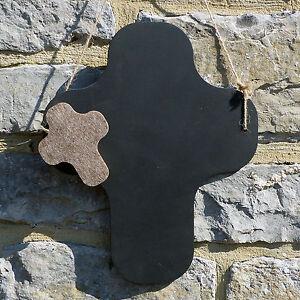 Chalk Blackboard Cross Rounded Shape for Memos Notes & Home Decor Christian