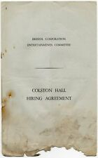 Temperance Seven The Colston Hall, Bristol Hiring Agreement 29/12/61