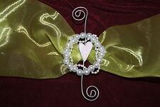 Anstecker Dekoration Deko Tischdeko Hochzeit Perlen Herz weiß silber 3 Stück