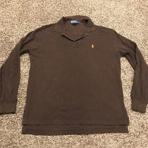 polo ralph lauren mens M brown cotton long sleeve shirt a37