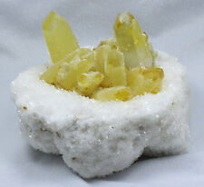 1908g New Find Yellow Phantom Quartz Crystal Cluster Mineral Specimen