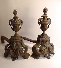 Belle paire de Chenets XIX ème bronze, cheminée