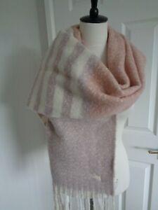 BNWT Radley Fluffy Stripe Pink Wide Scarf Shawl Wrap