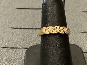 18 Carat Gold Diamond Band Ring  Size L