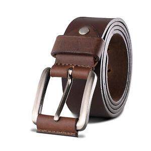 Mens Leather Belt Belts Genuine with Solid Buckle Black Brown For Jeans Dress