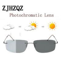 ZJHZQZ Men's β-Titanium Square Polarized Photochromic Sunglasses Chameleon Lens