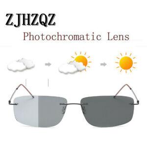 Rimless Men's β-Titanium Square Polarized Photochromic Sunglasses Chameleon Lens