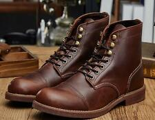 Men High Top Round Toe Leather Lace Up Work Motorcycle Ankle Boots Casual Shoes