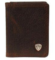 Mens Ariat Leather BiFold Flip Case Wallet Brown A35120282