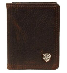 Mens Ariat Leather BiFold Flip Case Wallet Brown A35120282