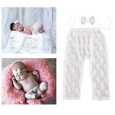 Baby Girls Sheer Ballet Lace Long Soft Leggings Floral Pants Bowknot Headwear