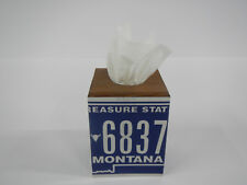 Tissue Box Cover License Plate Montana State Blue White MT US Rustic Home Decor