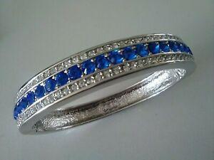 JBK Silver Sapphire Blue Stone Set Bangle Camrose & Kross Jackie Kennedy replica