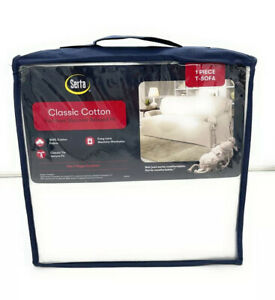 Serta Classic Cotton  Relaxed Fit  1 Piece Sofa For Box Style Cushion. White