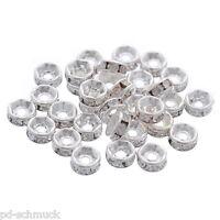 150 Versilbert Strass Rondelle Spacer Perlen Beads 5mm