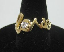 Love Sparkling Cubic Zirconia Word Ring Size 7 14Kt Gold Ep Script