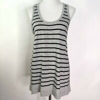 Vince Womens Black Gray Striped Sleeveless Scoop Neck Tank Top Size Medium