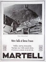 PUBLICITÉ DE PRESSE 1935 COGNAC MARTELL - CHATEAU D'ALLEUZE EN CANTAL