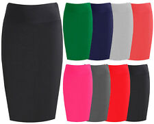WOMENS MIDI PENCIL SKIRT LADIES PLUS SIZE TUBE SKIRT BODYCON OFFICE UNIFORM 8-24