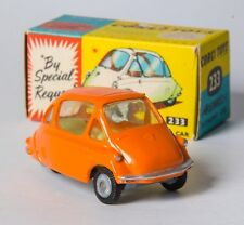 Corgi 233 Heinkel Trojan 3-wheeler Economy Car. Orange. Boxed. VERY Near-MINT.