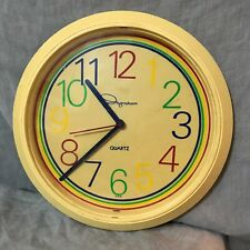 Vintage Ingraham Yellow Round Quartz Analog Wall Clock Tested Works
