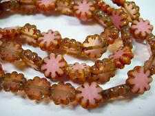 25 beads - Pink Mix Picasso Czech Glass Flower Beads 9mm