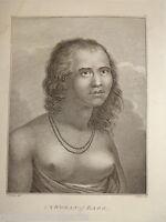 GRANDE Gravure XVIII COSTUMES VOYAGE CAPITAINE COOK EAOO TONGA POLYNESIE 1784