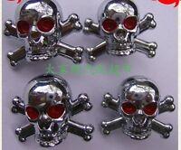 4pcs Universal Car Motorcycle Bike Tyre Wheel Valve Cover Skull Anti-dust Caps