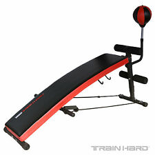 TrainHard Sit Up Bank Bauchtrainer Rückentrainer Hantelbank m. Boxbirne Punching