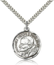 "Pope John Paul Ii Medal For Men - .925 Sterling Silver Necklace On 24"" Chain ..."