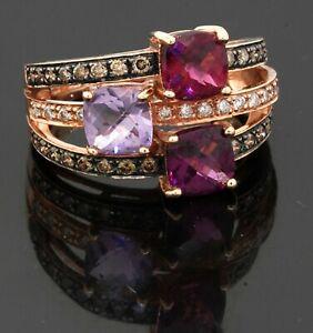 LeVian 14K rose gold 2.83CT Chocolate diamond amethyst tourmaline ring size 7