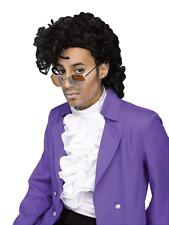Purple Rain Prince Wig Mens Fancy Dress 1980s Celebrity Adults Costume Accessory