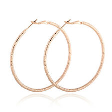 1 Pair Korean Rose Gold Plated Big Round Circle Dangle Hoop Earrings Womens