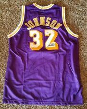 LA Lakers Legend & NBA HOF Magic Johnson signed Purple Lakers Jersey-PSA Sticker