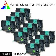 US STOCK 12PACK TZ741 TZe741 Black on Green 18mm Label Tape For new P-touch