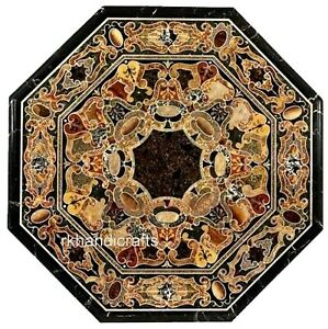 36 Inches Stone Office Meeting Table Top Octagonal Dining Table Marquetry Art