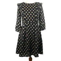 Pins & Needles S 8 10 Black Spotty Pleated Frill Dress 3/4 Sleeve Fit Flare