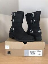 UGG Wilcox Black Leather Nubuck Mid Biker Boots UK Size 7.5 EUR 40