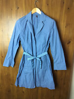 RRP £149 WRAP LONDON Mac Trench Coat Jacket Powder Blue Cotton UK 10 12 14 NEW