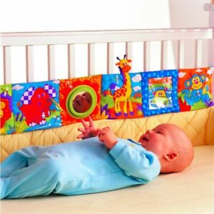 Baby Crib Bumper Infant Bedding Nursery Colorful Cloth Book Rattles Comfy Plush