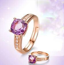 Anillo Dorado Oro Rosa Cristal 7mm Tipo Amatista Circonio Ajustable F7Z