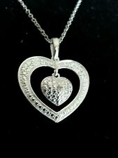 "Diamond Heart within a Heart Pendant necklace w/20"" chain in sterling silver"
