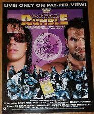 RAZOR RAMON & BRET HART signed ROYAL RUMBLE poster! , wwe, wcw, aew, NXT