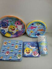 Baby Party Supplies Set / Birthday Parties Decorations shark blue 8 ct plus